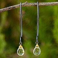 Lemon quartz dangle earrings, 'Midnight Meadow' - Thai Lemon Quartz Dangle Hook Earrings with Silver and Gold