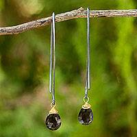 Smoky quartz dangle earrings, 'Midnight Meadow' - Silver Dangle Earrings with Smoky Quartz and Gold Accent