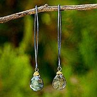 Labradorite dangle earrings, 'Midnight Meadow' - Thai Labradorite Earrings with oxidised Sterling Hooks