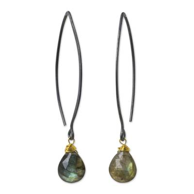 Labradorite dangle earrings, 'Midnight Meadow' - Thai Labradorite Earrings with Oxidized Sterling Hooks
