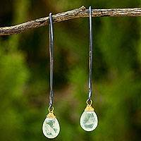 Prehnite dangle earrings, 'Midnight Meadow' - Handcrafted Prehnite Dangle Earrings with Sterling Silver