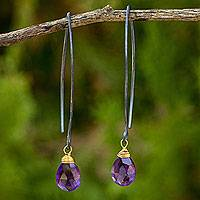 Amethyst dangle earrings, 'Sublime Sparkle' - Minimalist Amethyst Silver Earrings with Gold Vermeil