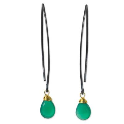 Chalcedony dangle earrings, 'Sublime Green Sparkle' - Sterling Silver Green Chalcedony Earrings Gold Vermeil