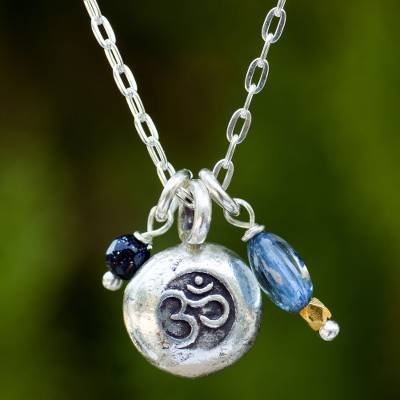 Kyanite pendant necklace, 'Sacred Mantra' - Thai Hill Tribe Om Symbol Silver Necklace with Kyanite