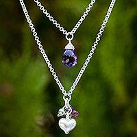 Multi-gemstone pendant necklace, 'Colors of the Heart' - Double Chain Silver and Gemstone Heart Pendant Necklace
