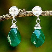 Chalcedony dangle earring, 'From Chiang Mai with Love' - Green Chalcedony Briolette Earrings with Sterling Silver