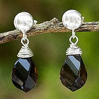 Smoky quartz dangle earrings, 'From Chiang Mai with Love' - Spiral Twist Faceted Smoky Quartz Dangle Earrings