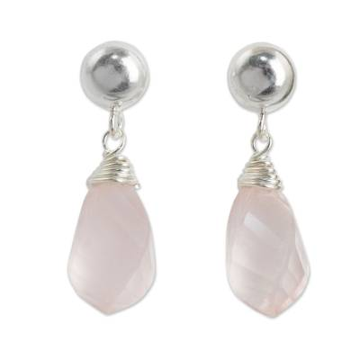 Rose quartz dangle earrings, 'From Chiang Mai with Love' - Sterling Silver and Rose Quartz Artisan Crafted Earrings