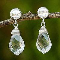 Quartz dangle earrings, 'From Chiang Mai with Love'