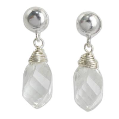 Quartz dangle earrings, 'From Chiang Mai with Love' - Clear Quartz and Sterling Silver Post Earrings