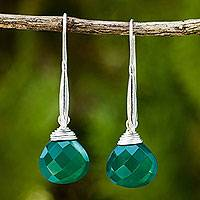 Green chalcedony dangle earrings, 'Meadow Dew' - Deep Green Chalcedony Briolette Dangle Earrings