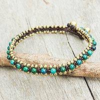 Serpentine anklet, 'Tinkling Bells' - Hand Crocheted Serpentine Anklet with Brass Beads and Bells