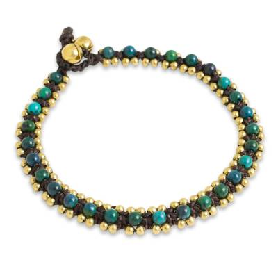 Hand Crocheted Serpentine Anklet with Brass Beads and Bells