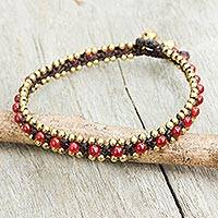 Quartz anklet, 'Tinkling Bells' - Red Quartz Hand Crocheted Anklet with Brass Beads and Bells