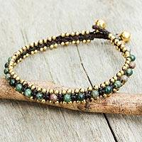 Agate anklet, 'Tinkling Bells' - Thailand Crocheted Agate Anklet with Brass Beads and Bells