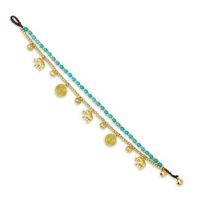 Calcite Bell Anklet with Brass Beads and Charms