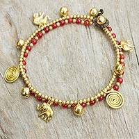 Dyed quartz anklet, 'Elephant Bells' - Red Quartz Charm Anklet with Brass Beads and Bells