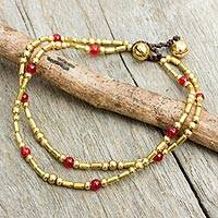 Red quartz anklet, 'Golden Bell' - Double Strand Brass Bead Anklet with Red Quartz Beads
