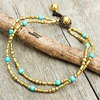 Calcite anklet, 'Golden Bell' - Thailand Blue Calcite Double Strand Brass Bead Anklet