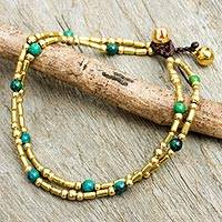 Serpentine anklet, 'Golden Bell' - Brass and Serpentine Thai Handcrafted Anklet