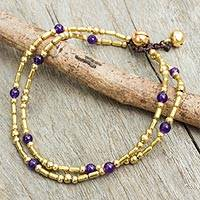 Purple quartz anklet, 'Golden Bell' - Handcrafted Purple Quartz and Brass Bead Anklet