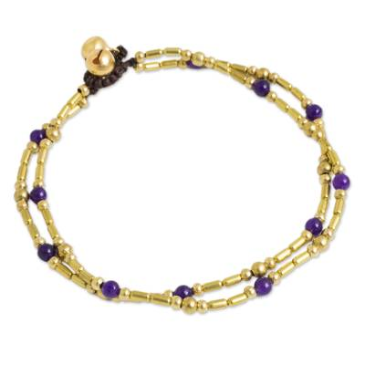 Handcrafted Purple Quartz and Brass Bead Anklet