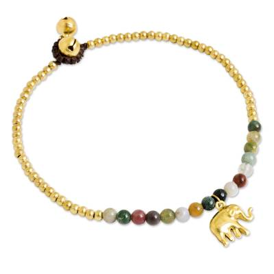 Agate anklet, 'Stylish Elephant' - Elephant Charm Agate and Beaded Brass Anklet