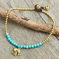 Calcite anklet, 'Stylish Elephant' - Blue Calcite Elephant Charm Beaded Brass Anklet