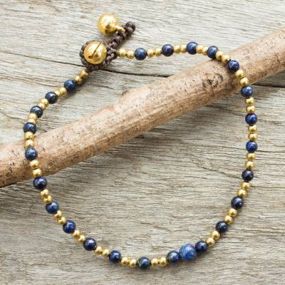 Lapis lazuli anklet, 'Cheerful Walk' - Single Strand Brass Bead Anklet with Lapis Lazuli