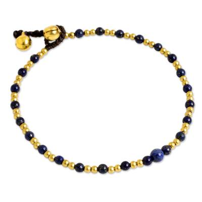 Single Strand Brass Bead Anklet with Lapis Lazuli
