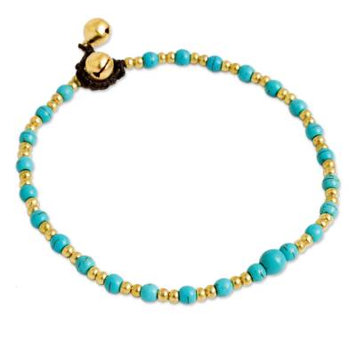 Blue Calcite and Brass Single Strand Anklet