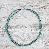 Calcite and turquoise beaded necklace, 'Exotic Blue Allure'