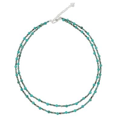 Calcite and turquoise beaded necklace, 'Exotic Blue Allure' - Thai Handcrafted Beaded Necklace with Silver Clasp