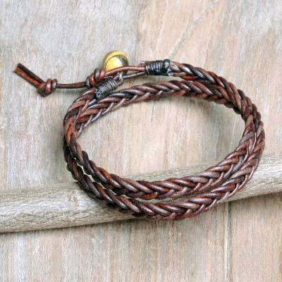 Men's tiger's eye and leather wrap bracelet, 'Double Cinnamon' - Men's Hand Braided Brown Leather Wrap Bracelet