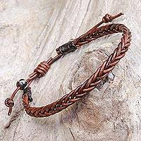 Leather braided bracelet, 'Cinnamon Braid'