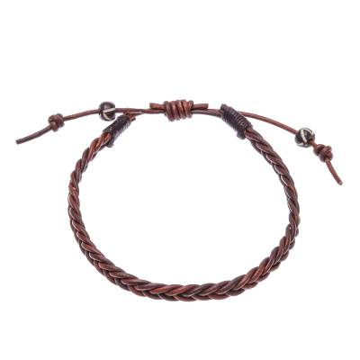 Cinnamon Brown Leather Braided Bracelet from Thailand