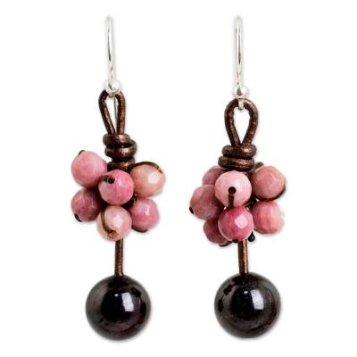 Rhodonite and garnet dangle earrings, 'Cluster of Kisses' - Rhodonite and Garnet Handcrafted Earrings with Leather