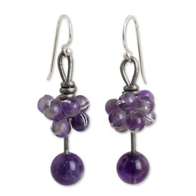 Artisan Crafted Amethyst Earrings with Leather and Silver
