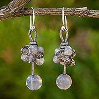 Smoky quartz and chalcedony dangle earrings, 'Cluster of Kisses' - Smokey Quartz and Chalcedony Hand Crafted Earrings