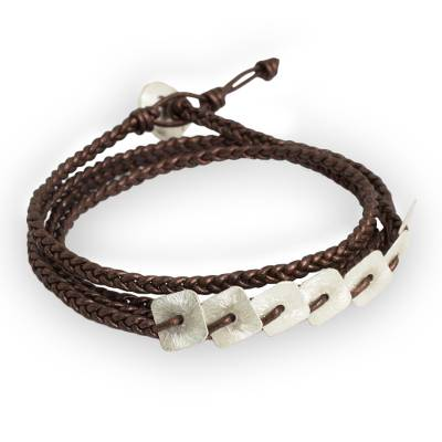 Silver and leather wrap bracelet, 'New Aesthetic' - Braided Leather Wrap Bracelet with Hill Tribe Silver