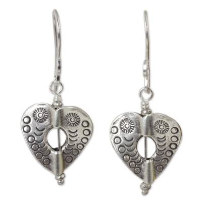 Silver dangle earrings, 'Loving Karen Heart' - Heart Theme Handcrafted Thai Hill Tribe Silver Earrings