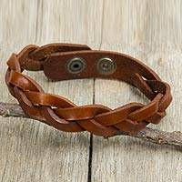 Men's braided leather bracelet, 'Caramel Rope' - Men's Leather Braided Wristband Bracelet in Caramel Brown