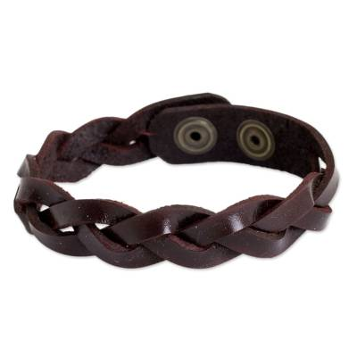 Artisan Crafted Braided Leather Wristband Bracelet for Men
