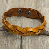 Men's braided leather bracelet, 'Honey Rope' - Men's Jewelry Braided Leather Wristband Bracelet