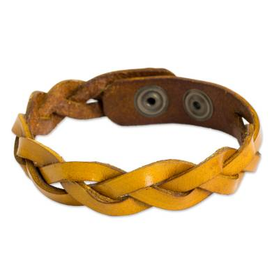 Men's braided leather bracelet, 'Honey Rope' - Men's Jewelry Braided Leather Wristband Bracelet