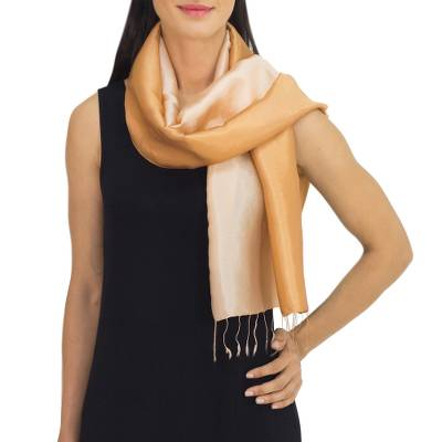 Rayon and silk blend scarf, 'Caramel Shimmer' - Silky Rayon Blend Scarf for Women Crafted in Thailand