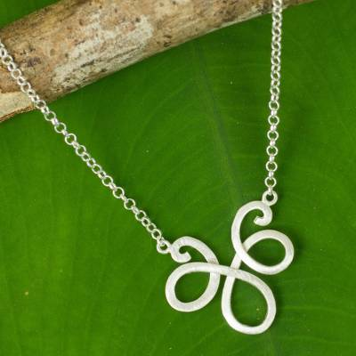 Sterling silver pendant necklace, 'Delicate Beauty' - Feminine Necklace from Thailand in Sterling Silver