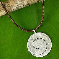 Sterling silver pendant necklace, 'One' - Artisan Crafted Silver Pendant Necklace from Thailand