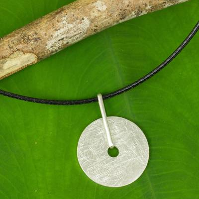 Sterling silver pendant necklace, 'Satin Circle' - Thai Artisan Crafted Brushed Silver Pendant Necklace