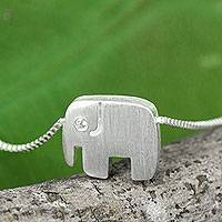 Sterling silver pendant necklace, 'Elephants Forever'
